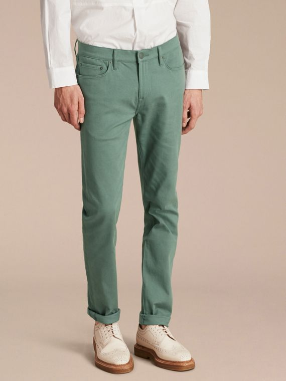Jeans aderenti in denim stretch giapponese Verde Ardesia