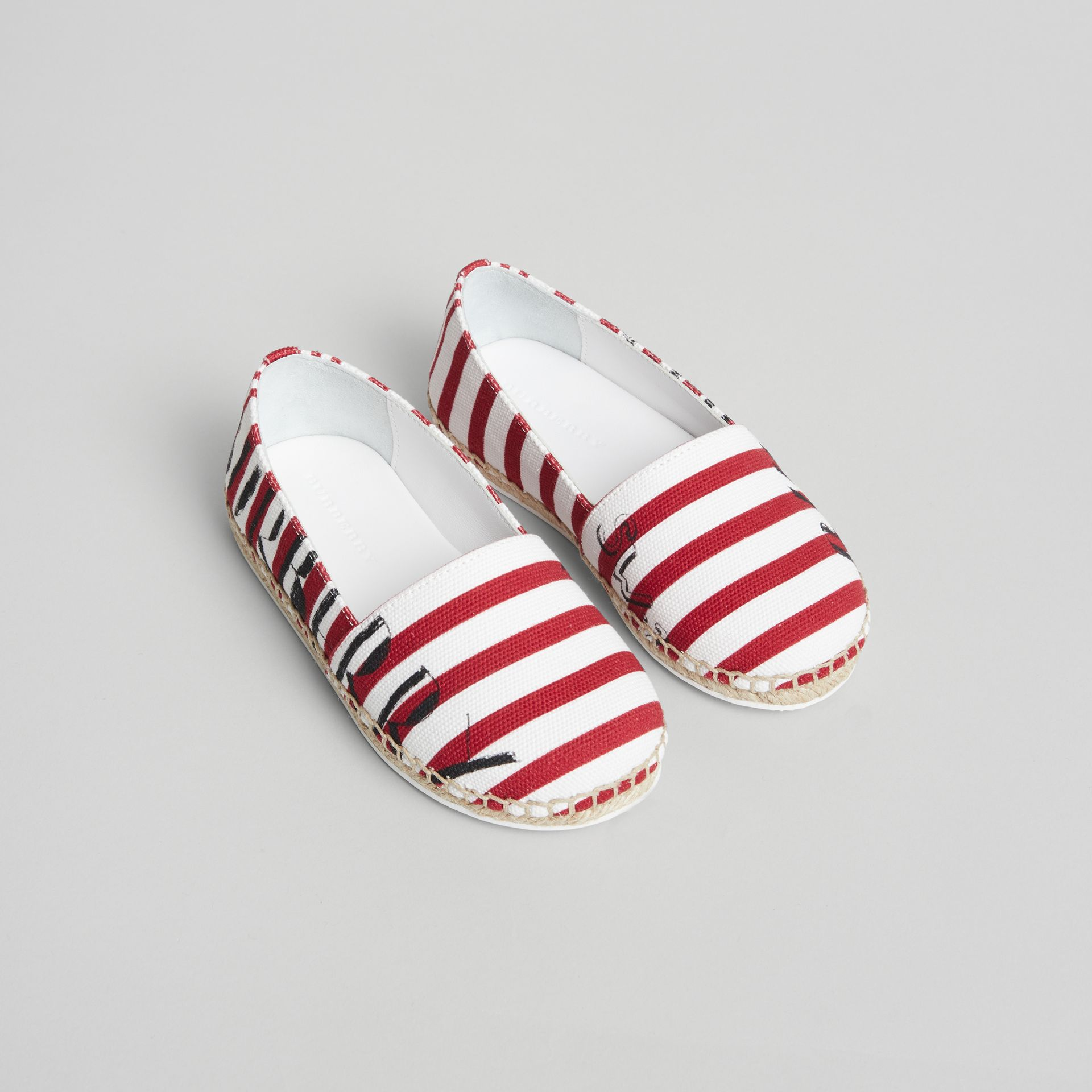 SW1 Print Striped Cotton Espadrilles in Bright Red | Burberry Australia - gallery image 0