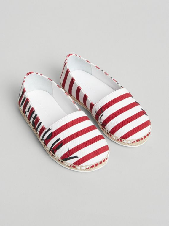 SW1 Print Striped Cotton Espadrilles in Bright Red