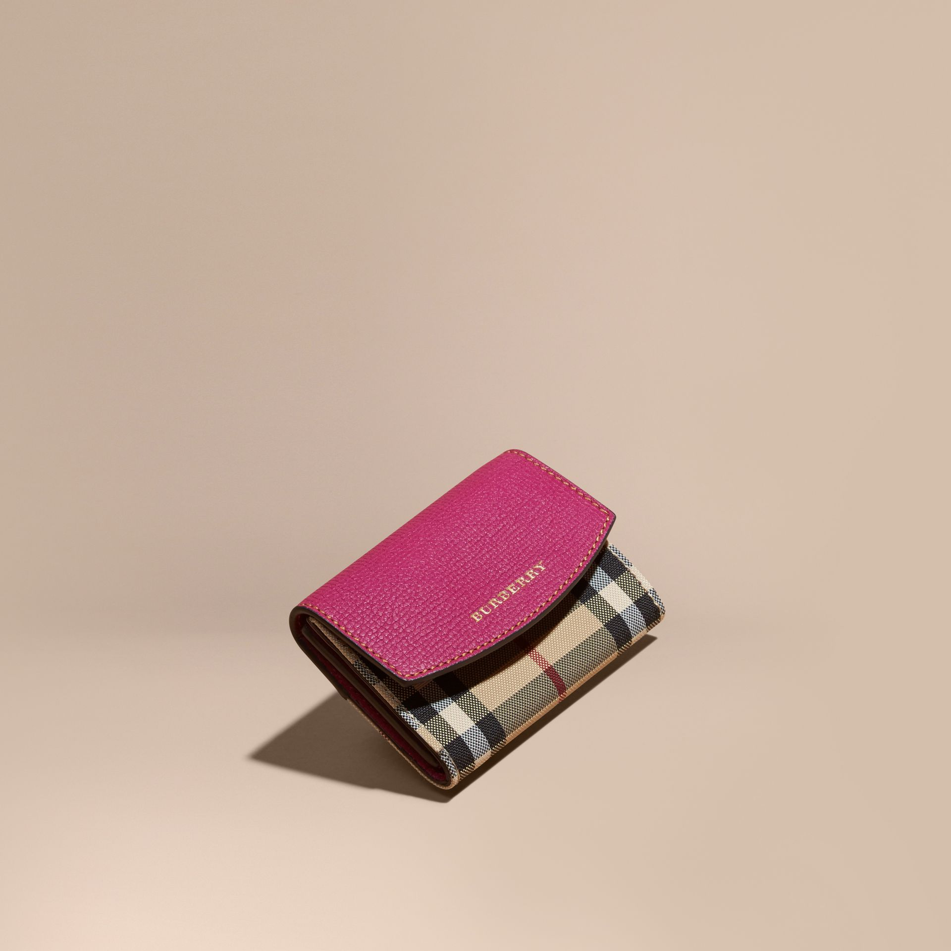Brilliant fuchsia Horseferry Check and Leather Card Case Brilliant Fuchsia - gallery image 1