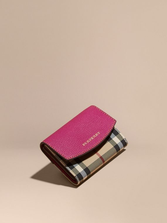 Horseferry Check and Leather Card Case Brilliant Fuchsia