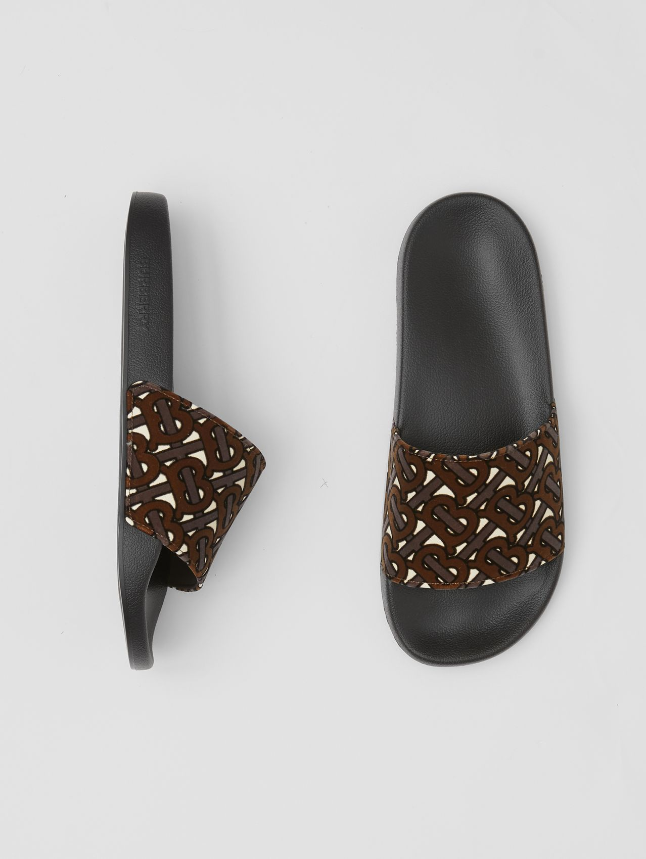 Monogram Flocked Leather Slides in Bridle Brown