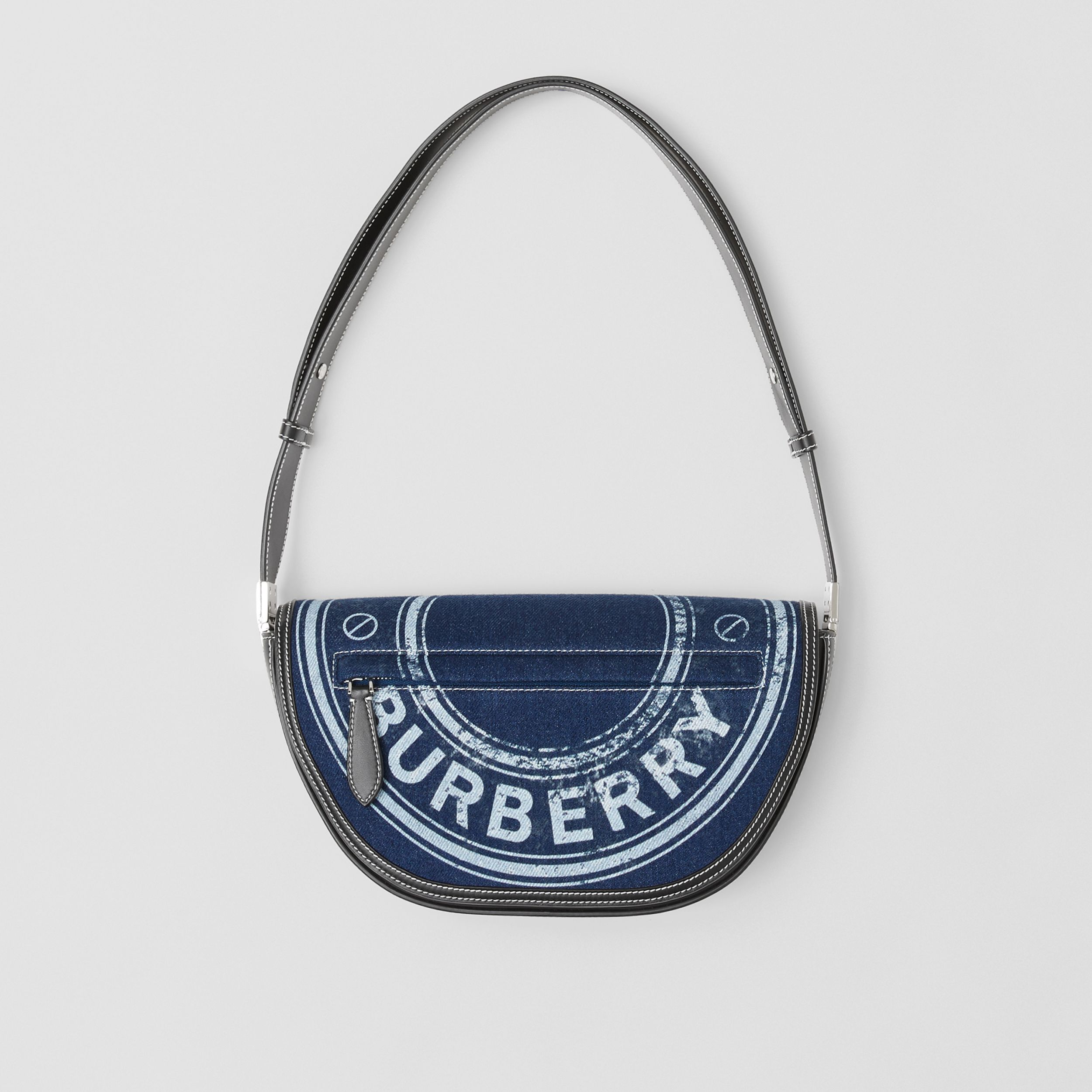 Small Logo Graphic Denim and Leather Olympia Bag in Dark Canvas Blue - Women | Burberry - 1