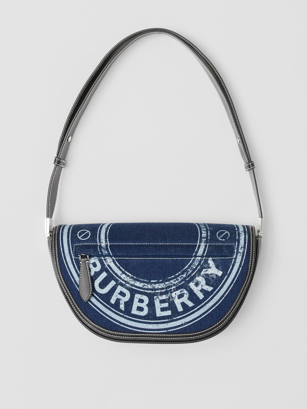 Small Logo Graphic Denim and Leather Olympia Bag in Dark Canvas Blue