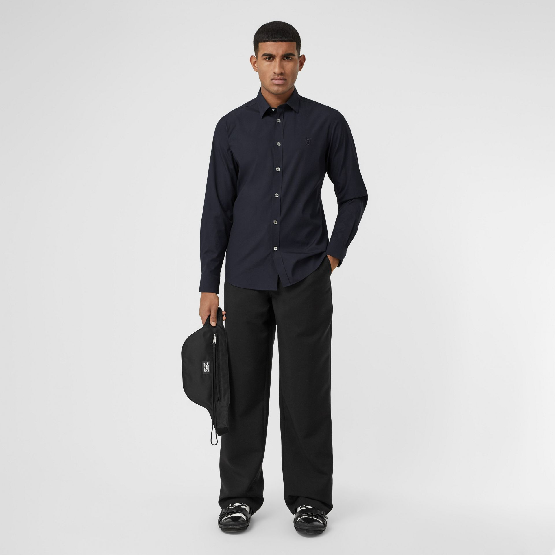 Monogram Motif Stretch Cotton Poplin Shirt in Navy - Men | Burberry Australia - gallery image 4