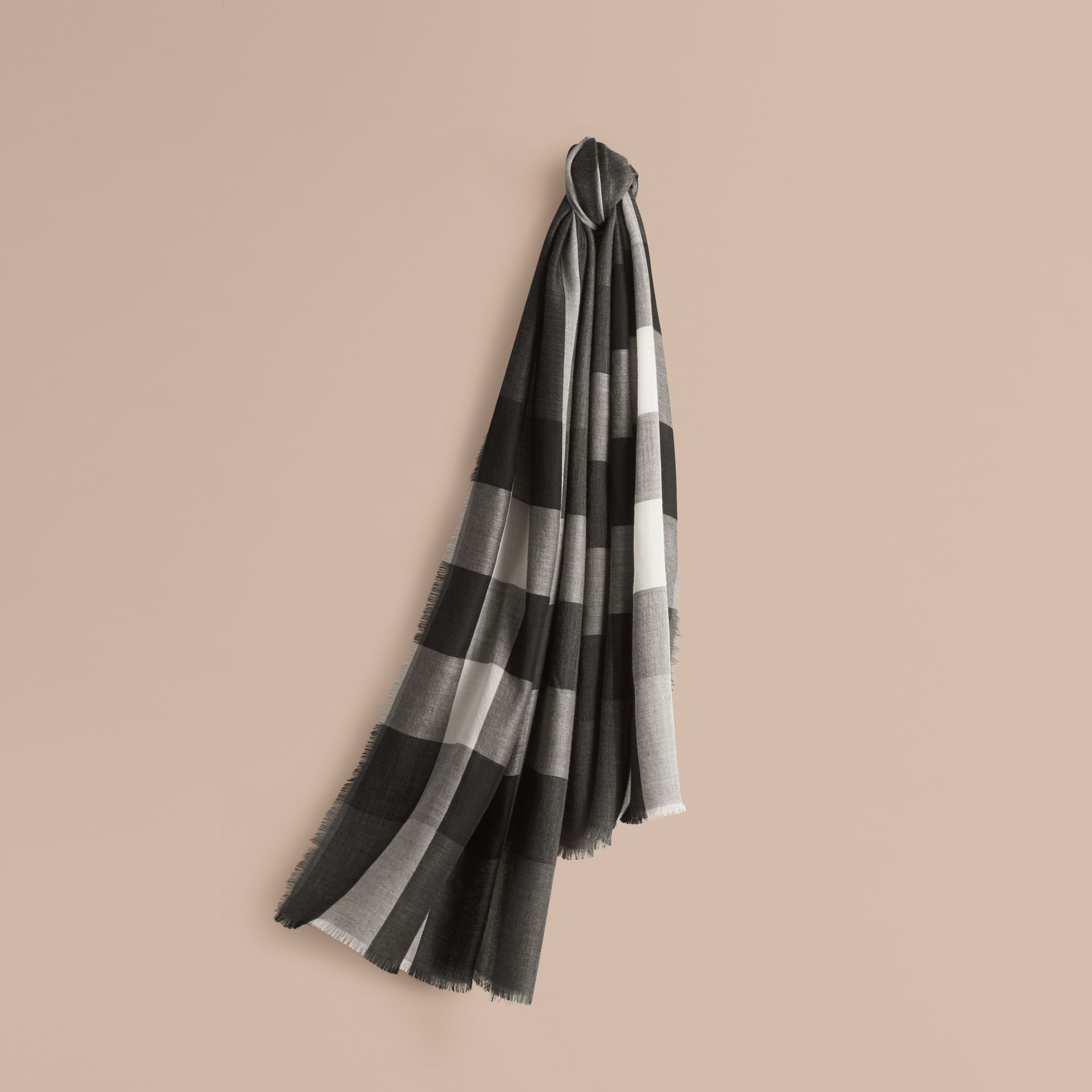 Mid grey The Lightweight Cashmere Scarf in Check Mid Grey - gallery image 6