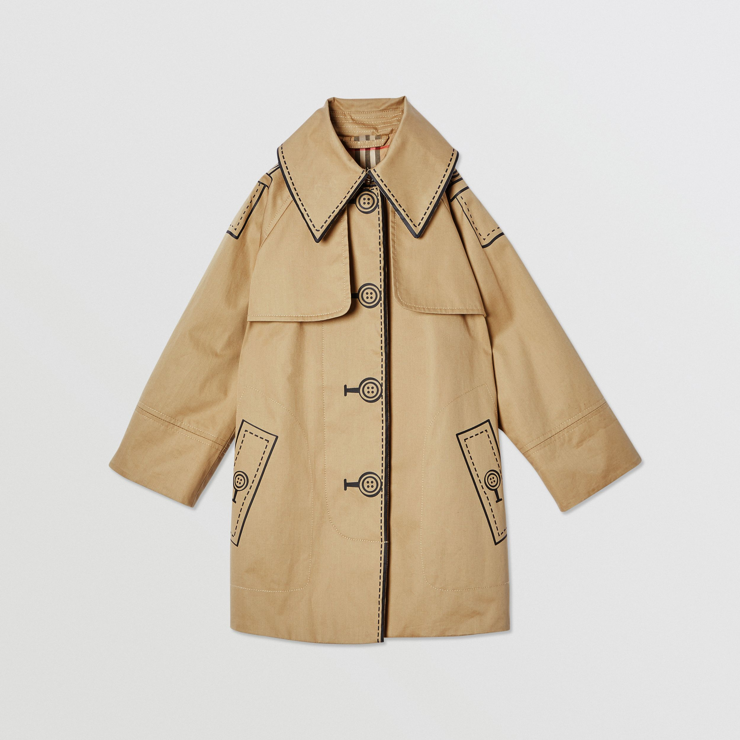 Trompe L'Oeil Cotton Swing Coat in Honey | Burberry United Kingdom - 1
