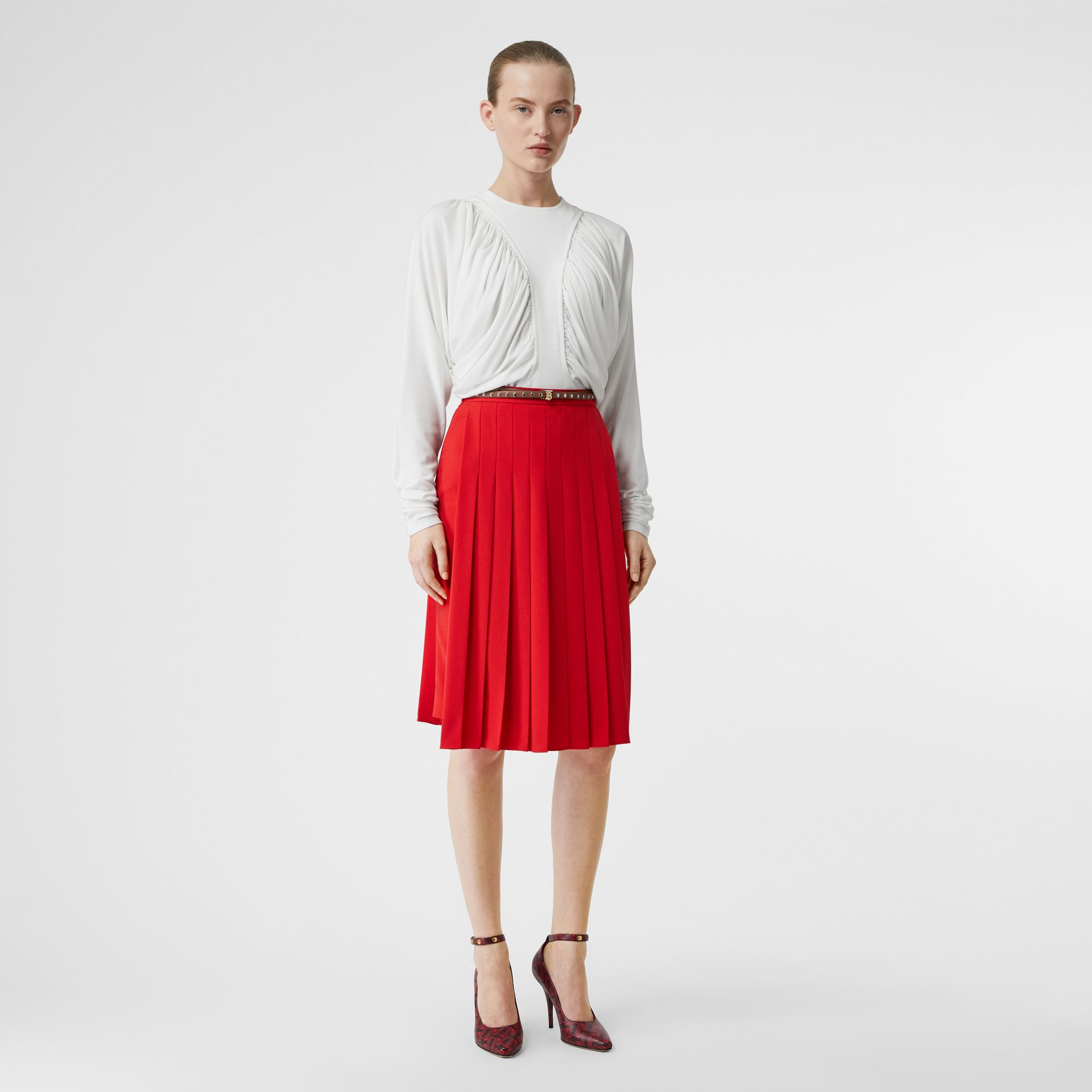 Stretch Cady Pleated Skirt in Bright Red - Women | Burberry United Kingdom - gallery image 0