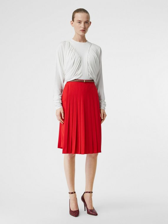 Stretch Cady Pleated Skirt in Bright Red