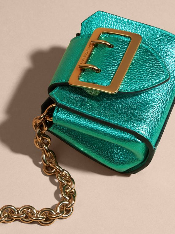 Emerald The Mini Buckle Tote Charm in Metallic Leather Emerald - cell image 2