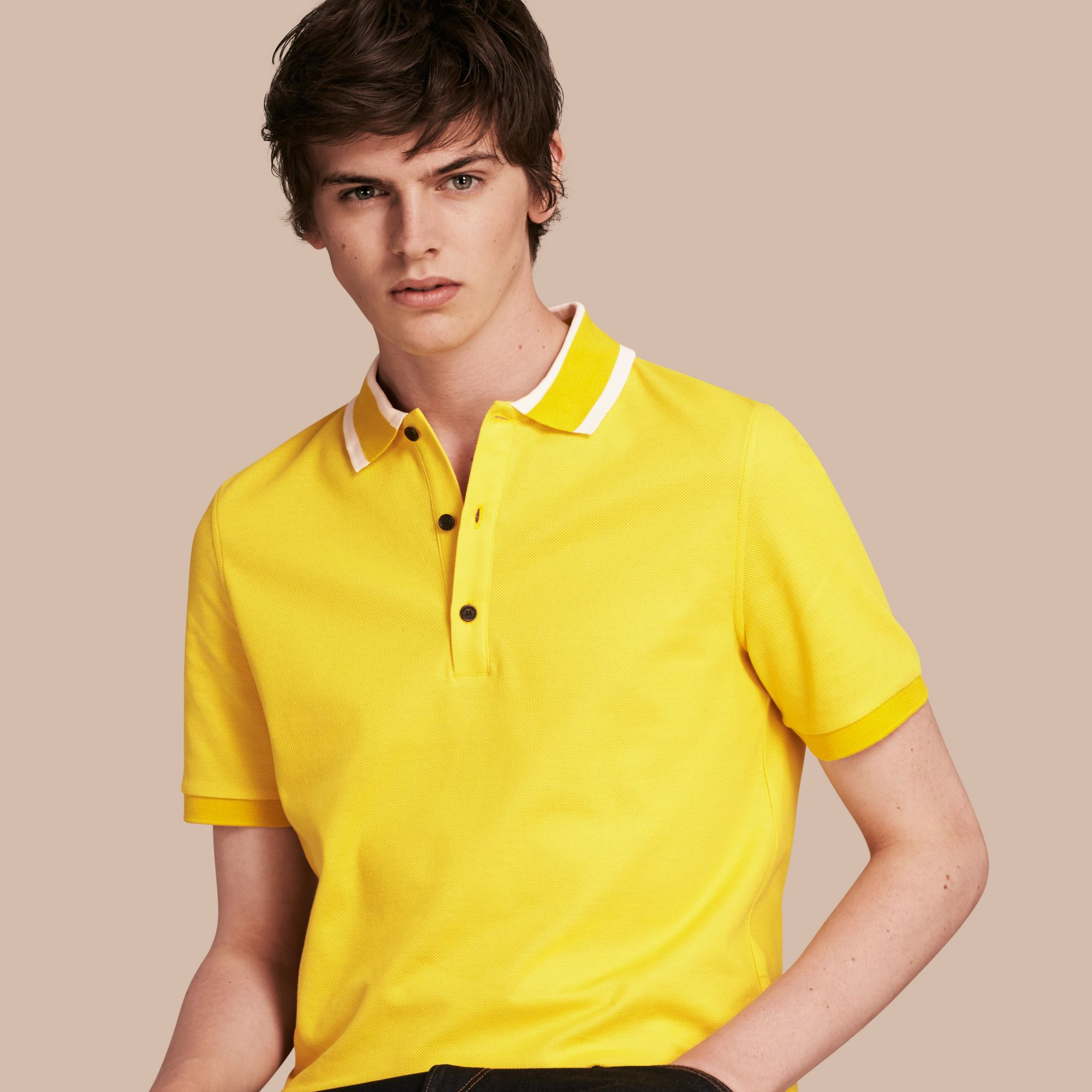 Striped Collar Cotton Piqué Polo Shirt in Daffodil - gallery image 1