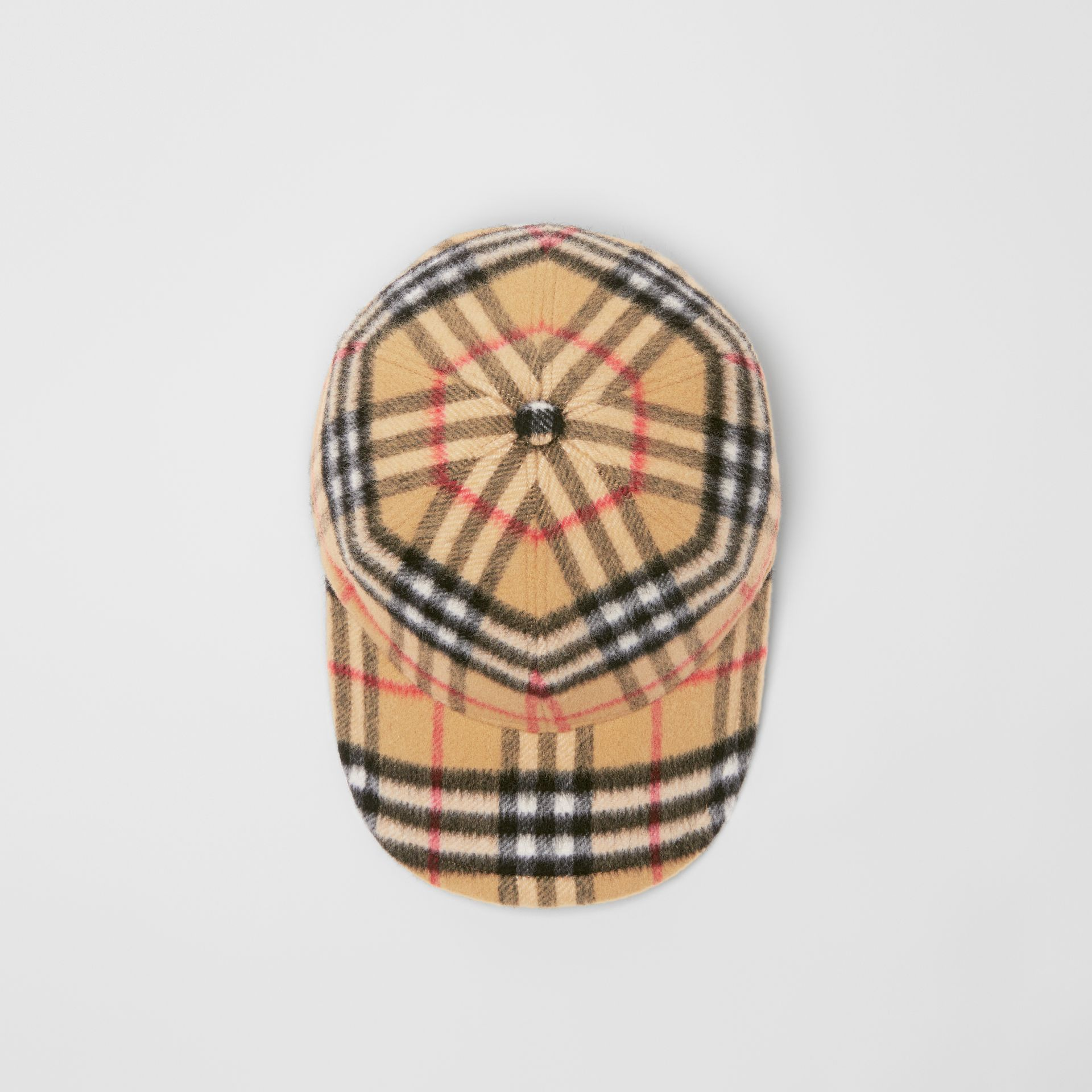 Vintage Check Wool Baseball Cap in Antique Yellow | Burberry United Kingdom - gallery image 0