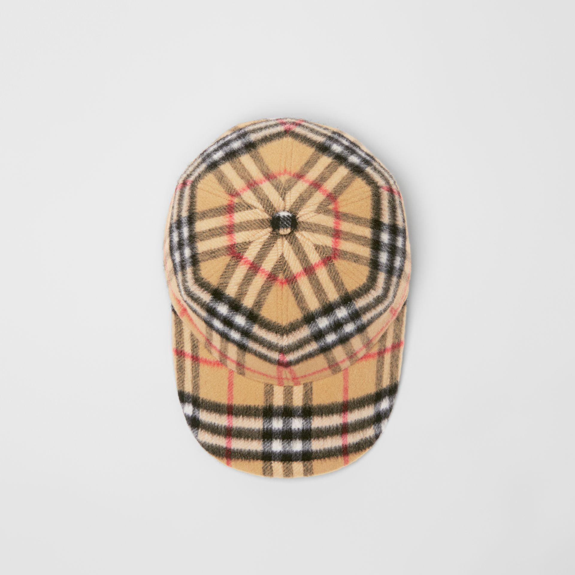 a5e8b97a095 Burberry Vintage Check Wool Baseball Cap In Brown