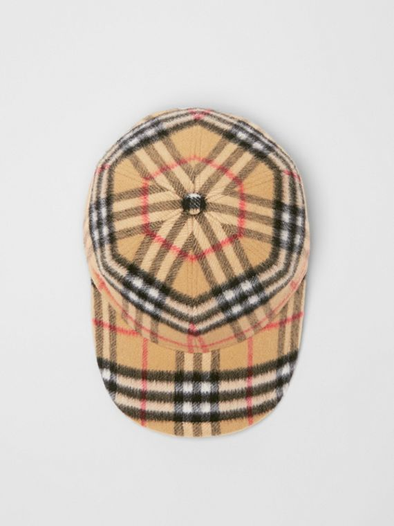 Vintage Check Wool Baseball Cap in Antique Yellow