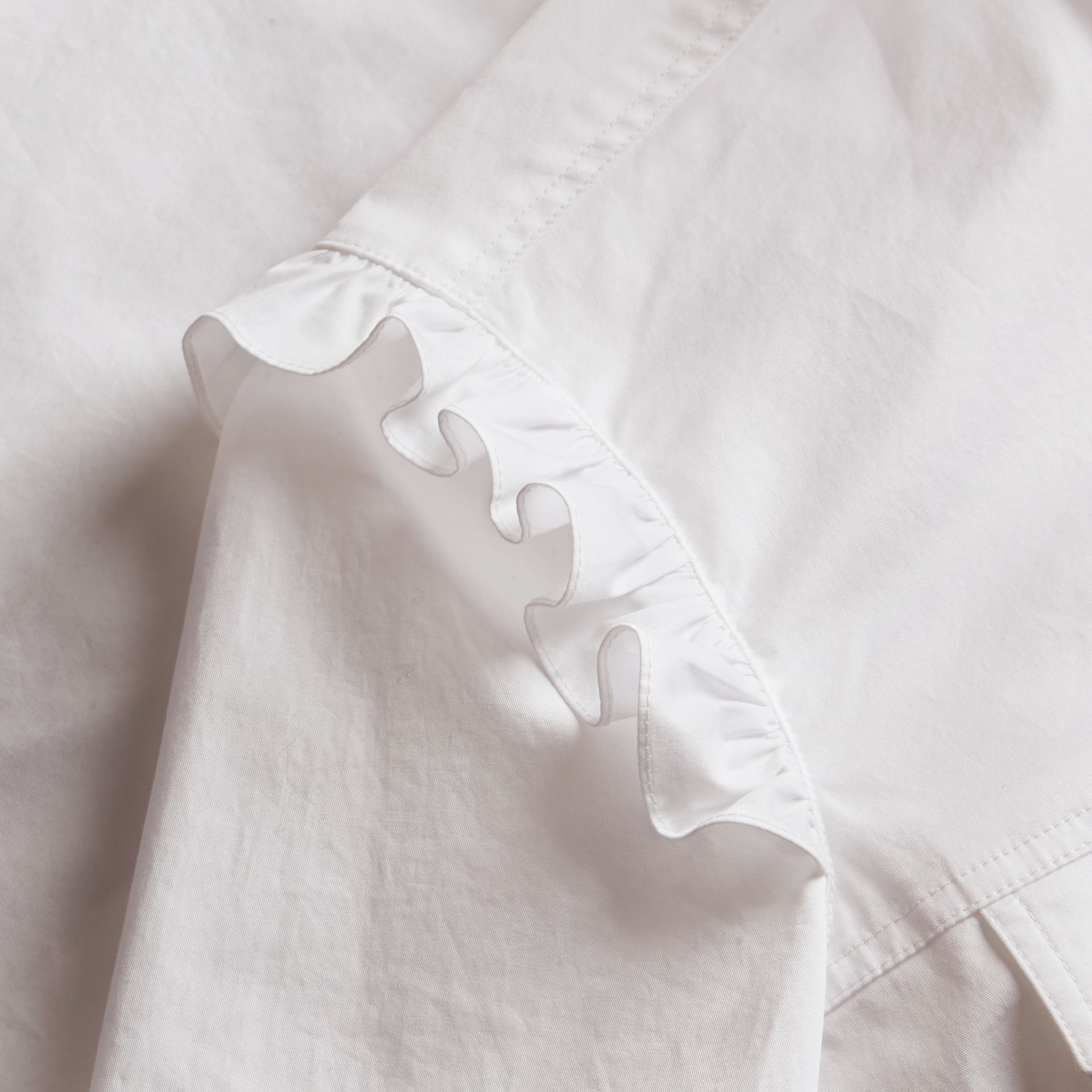 Ruffle and Check Detail Cotton Shirt Dress White - gallery image 2