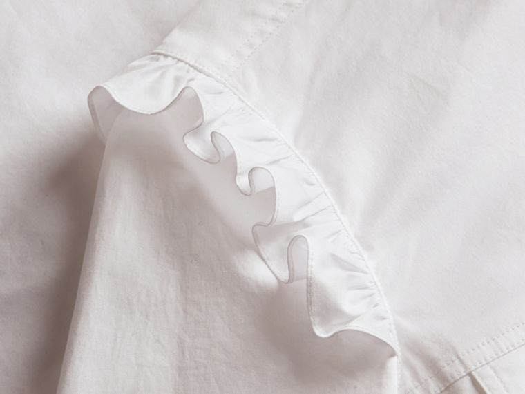 Ruffle and Check Detail Cotton Shirt Dress White - cell image 1