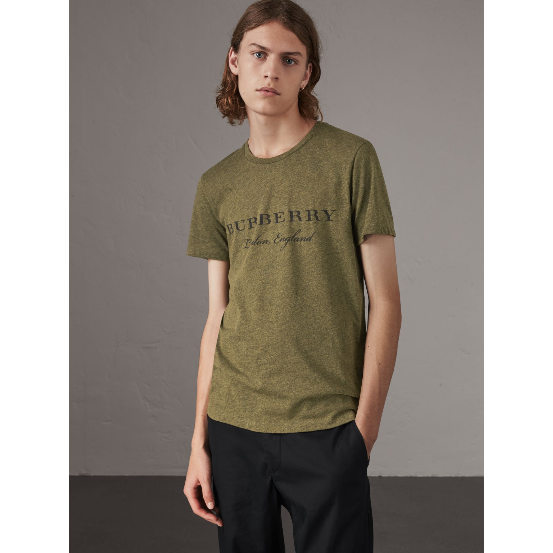 Devoré Cotton Jersey T-shirt in Olive Melange - Men | Burberry - gallery image 0