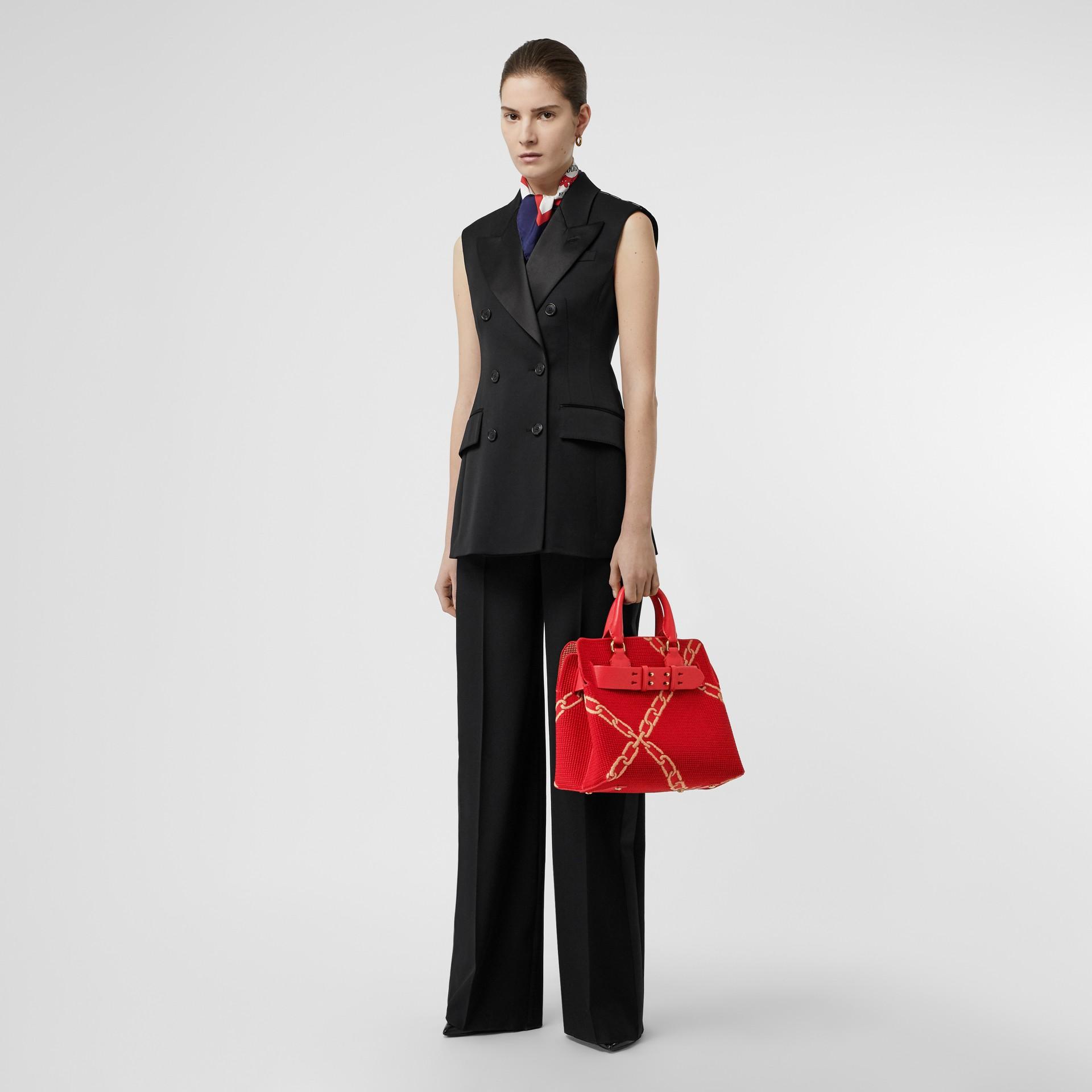 Bolsa Belt com corrente – Pequena (Vermelho Intenso/camel Brilhante) - Mulheres | Burberry - galeria de imagens 5