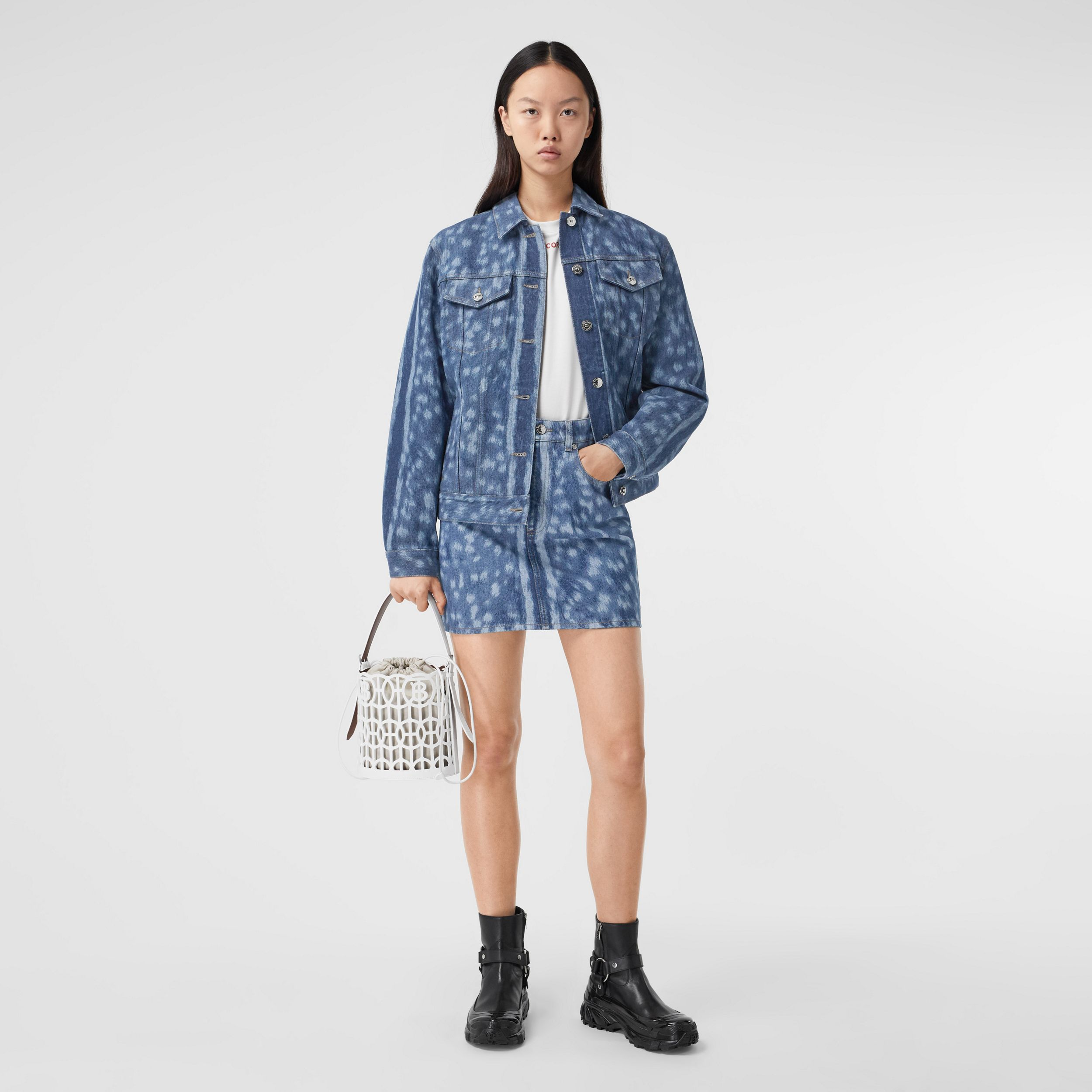 Deer Print Denim Jacket in Mid Indigo - Women | Burberry - 1