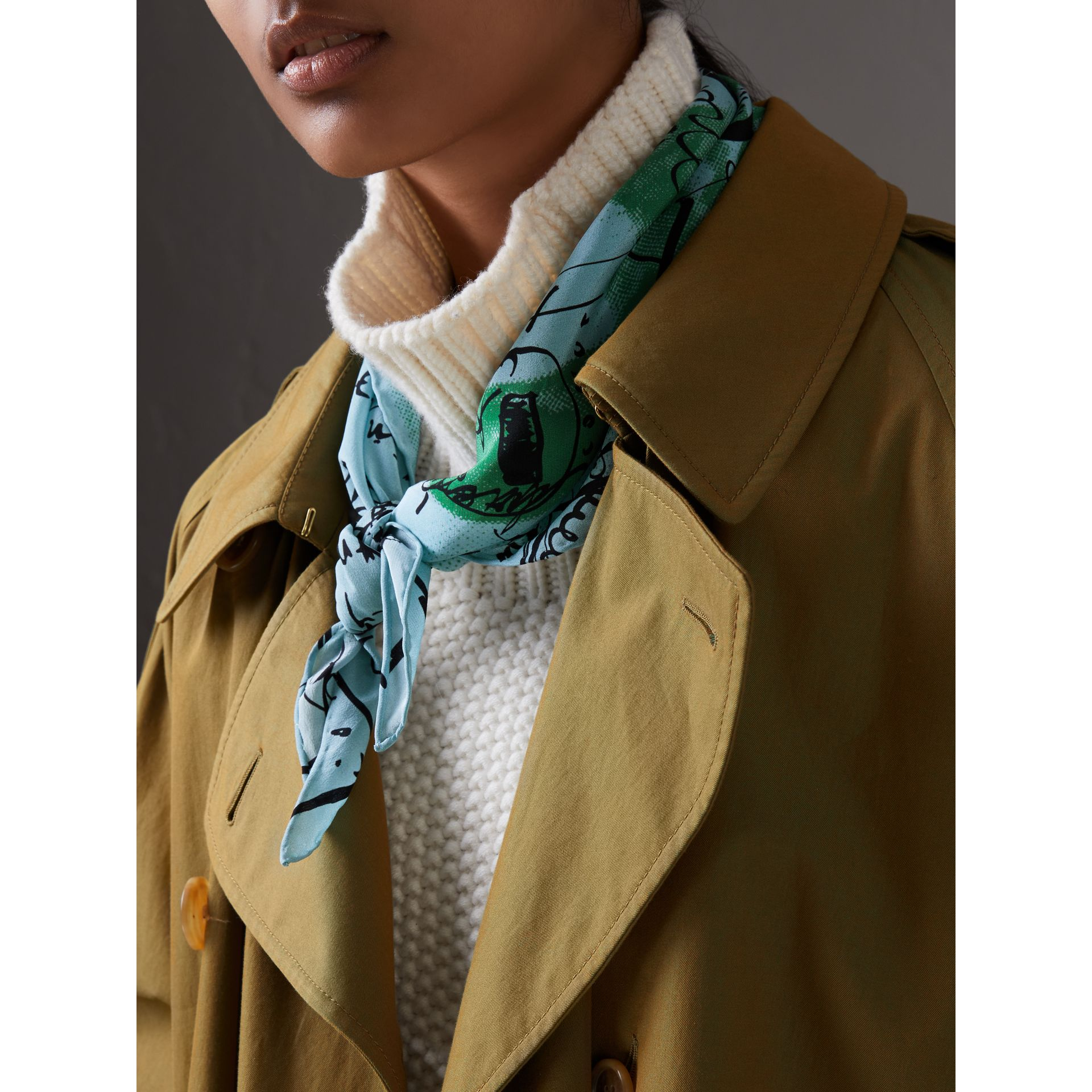 Postcard Print Silk Scarf in Mineral Blue - Women | Burberry Australia - gallery image 3
