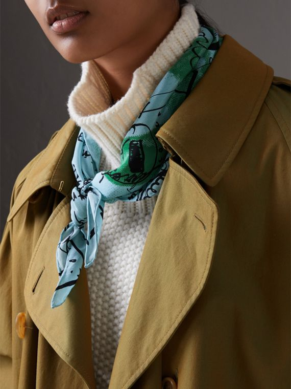 Postcard Print Silk Scarf in Mineral Blue - Women | Burberry - cell image 3