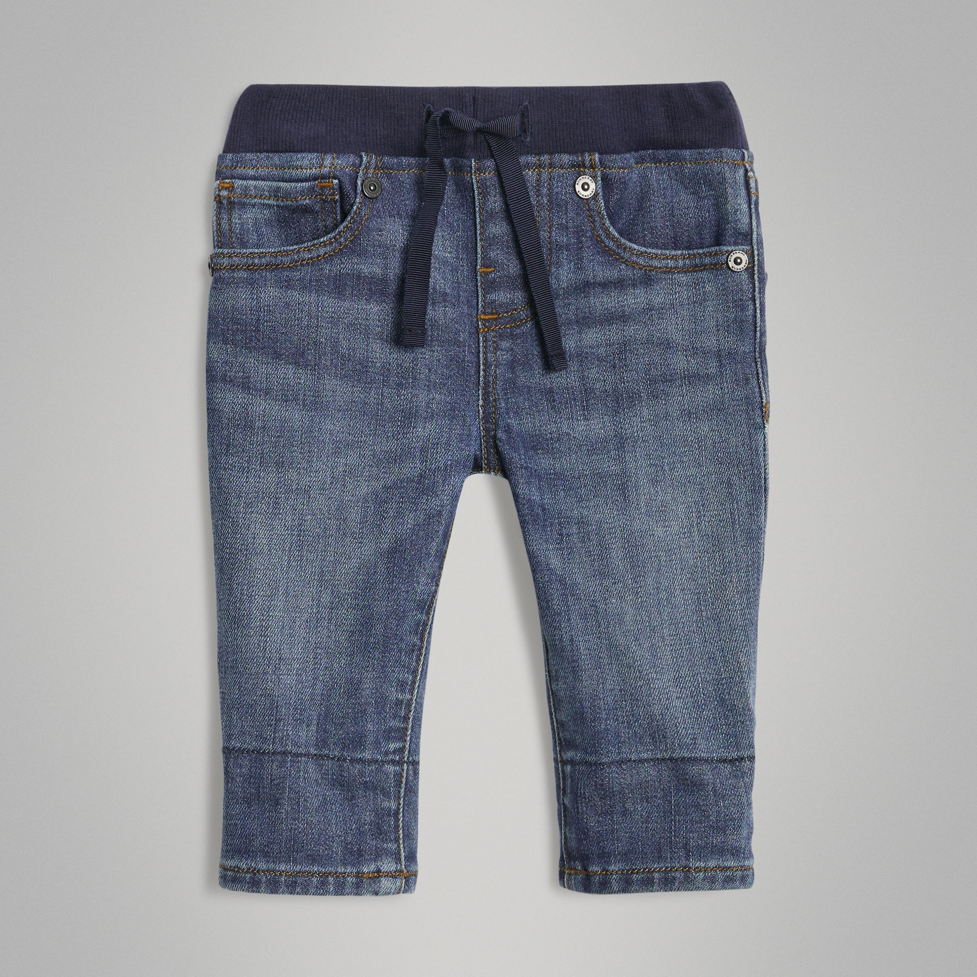 Relaxed Fit Pull-on Stretch Denim Jeans in Mid Indigo - Children | Burberry United States - gallery image 0