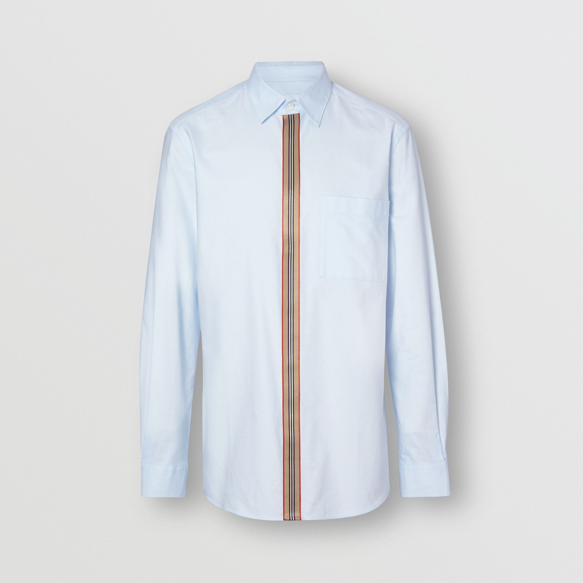Icon Stripe Detail Stretch Cotton Poplin Shirt in Pale Blue - Men | Burberry - gallery image 3