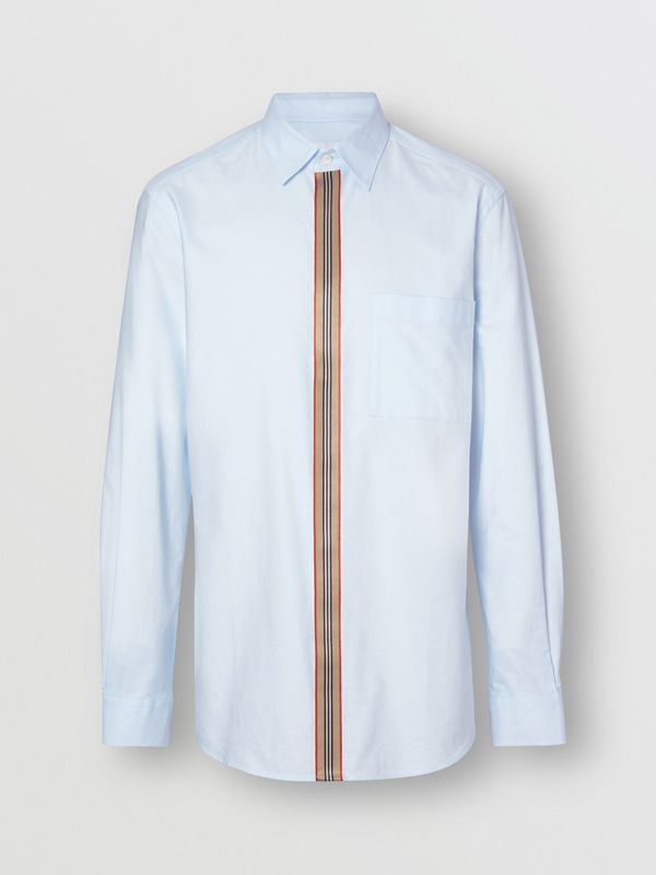 Icon Stripe Detail Stretch Cotton Poplin Shirt in Pale Blue - Men | Burberry - cell image 3
