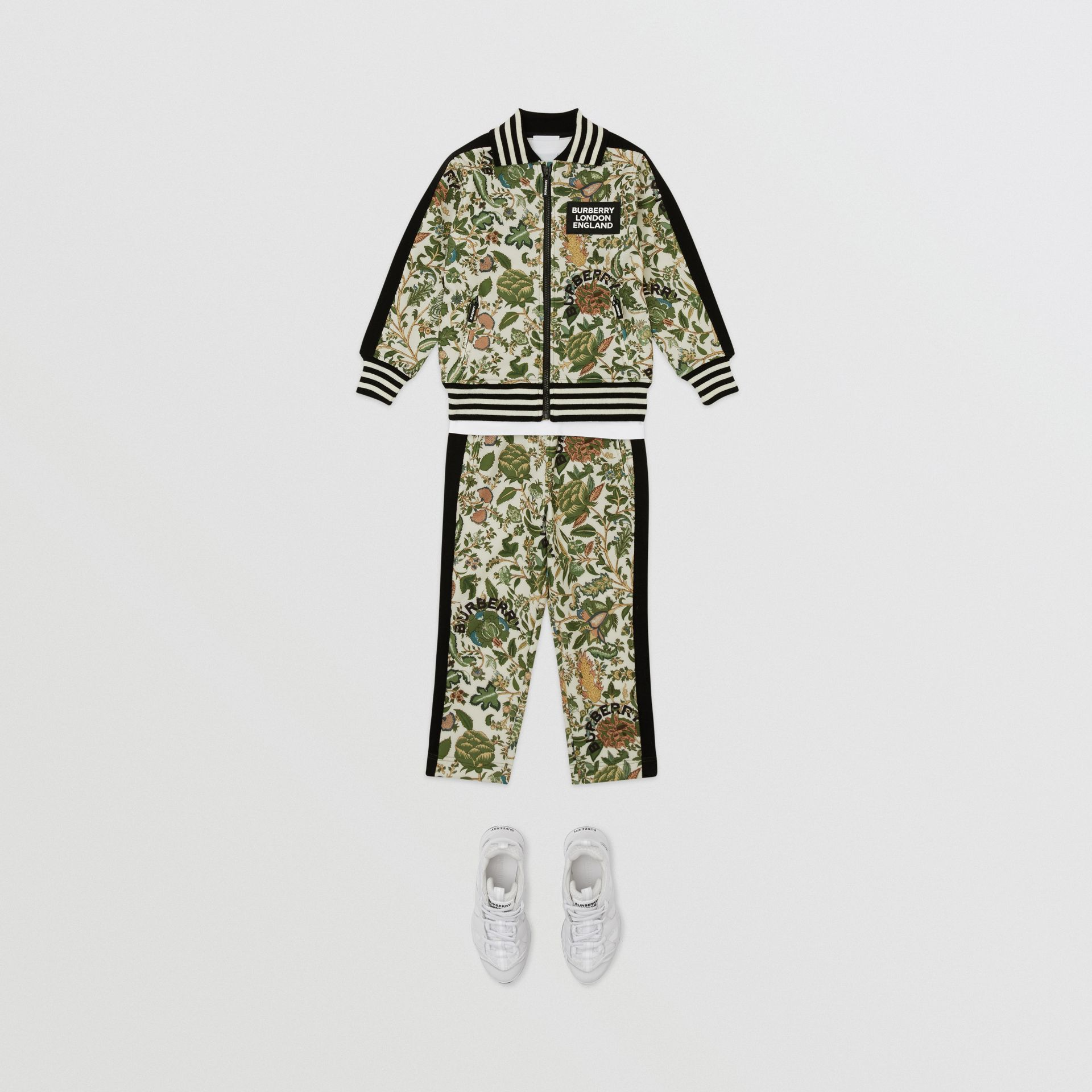 Botanical Print Neoprene Trackpants in Olive | Burberry Australia - gallery image 3