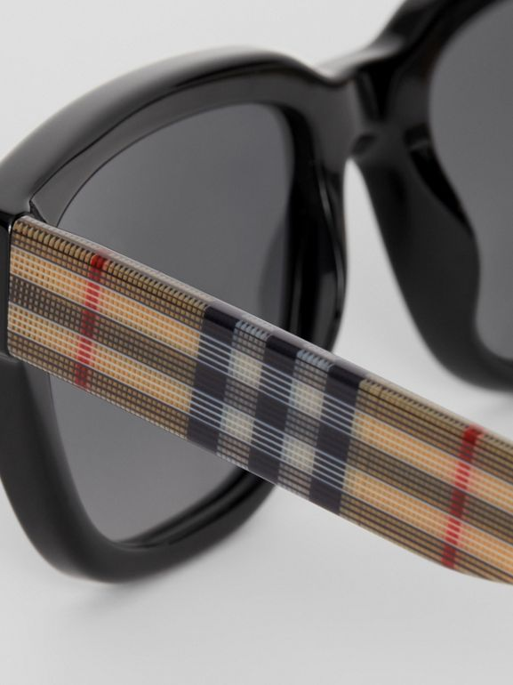 Vintage Check Detail Square Frame Sunglasses in Antique Yellow - Women | Burberry - cell image 1