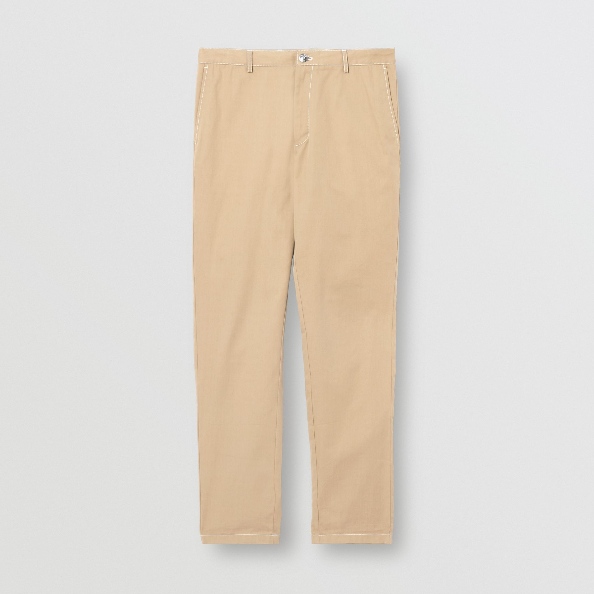 Slim Fit Topstitch Detail Cotton Chinos in Honey - Men | Burberry - gallery image 3