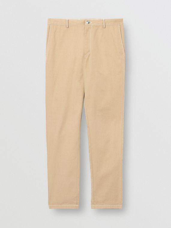 Slim Fit Topstitch Detail Cotton Chinos in Honey