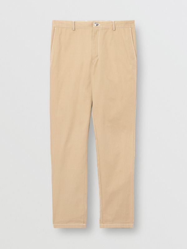 Slim Fit Topstitch Detail Cotton Chinos in Honey - Men | Burberry - cell image 3