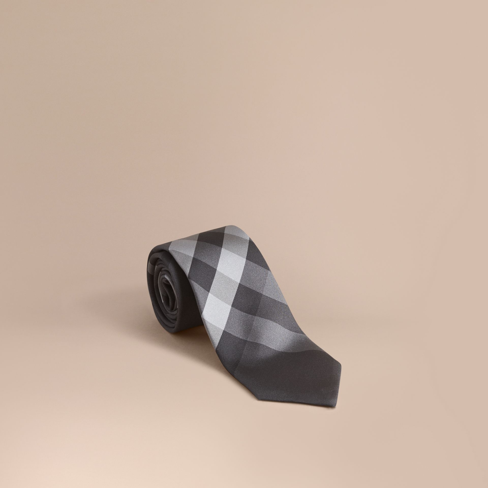 Modern Cut Beat Check Silk Tie - gallery image 1