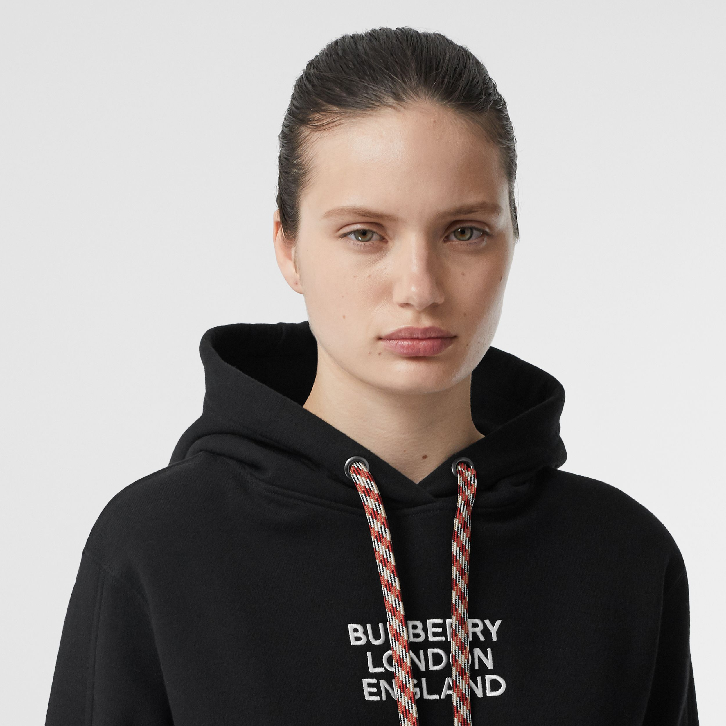 Embroidered Logo Cotton Oversized Hoodie in Black - Women | Burberry - 2