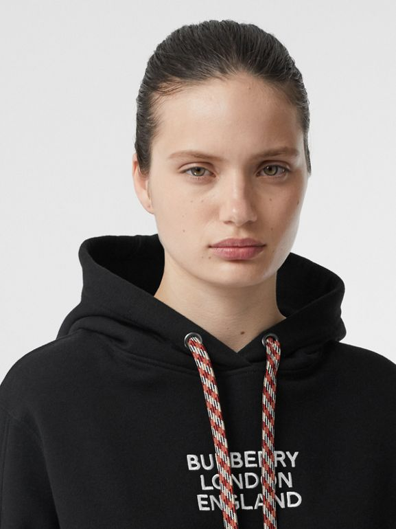 Embroidered Logo Cotton Oversized Hoodie in Black - Women | Burberry Canada - cell image 1