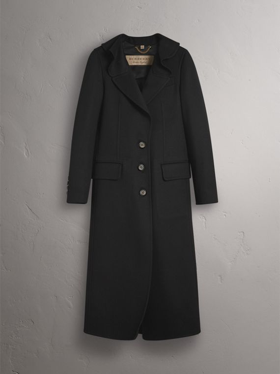 Ruffled Collar Wool Cashmere Coat in Black - Women | Burberry - cell image 3