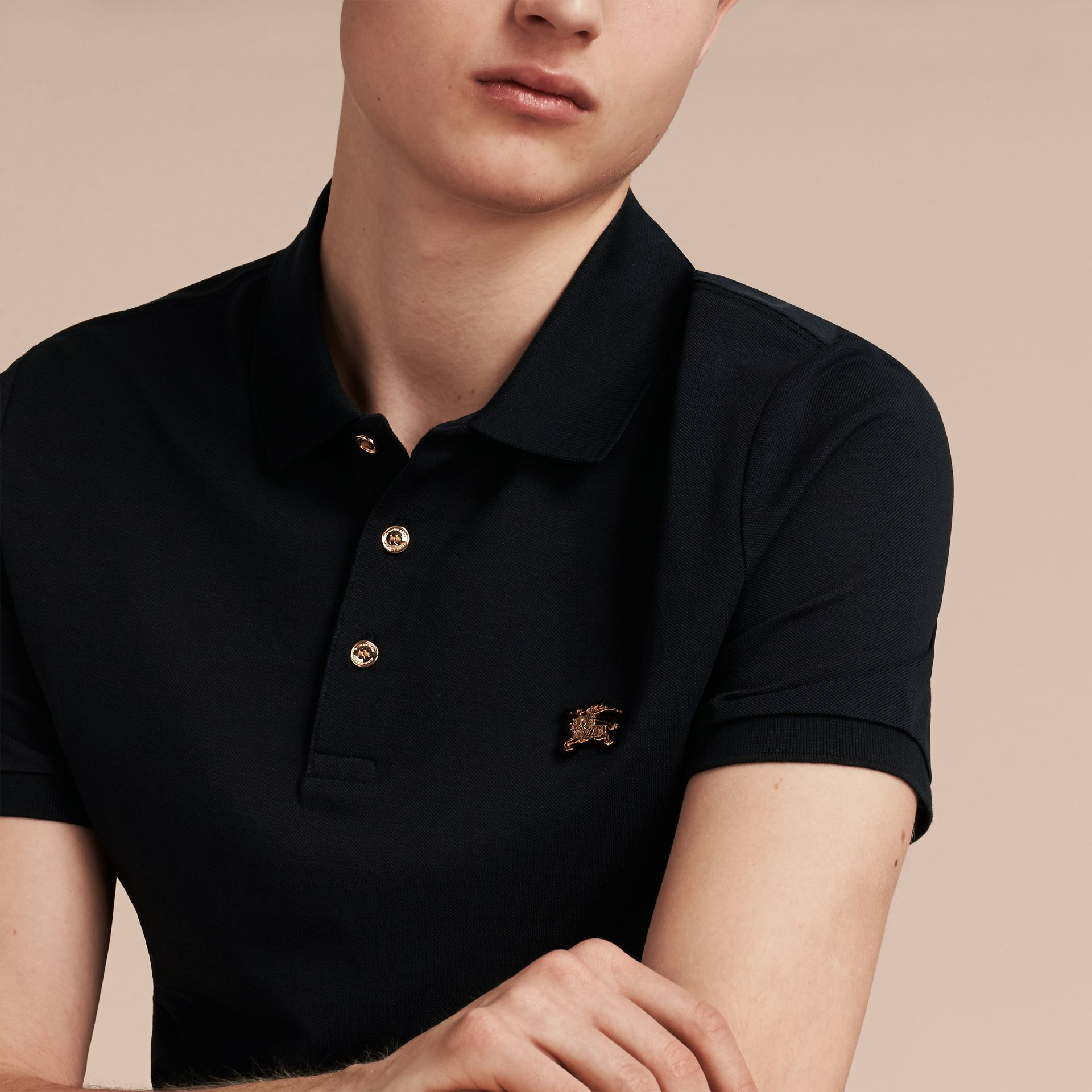 Navy Fitted Mercerised Cotton-Piqué Polo Shirt Navy - gallery image 4
