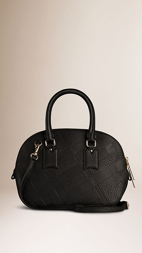 Black The Small Orchard in Embossed Check Leather - Image 3