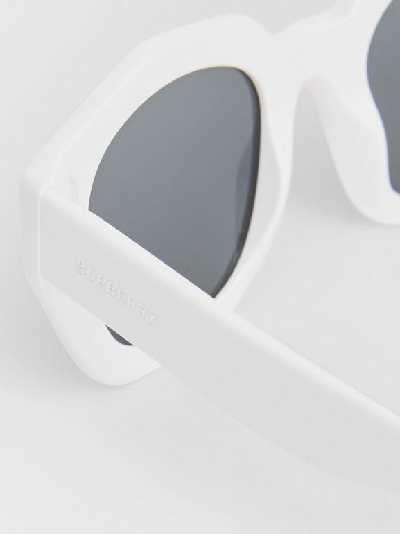 Geometric Frame Sunglasses in White - Women | Burberry - cell image 1