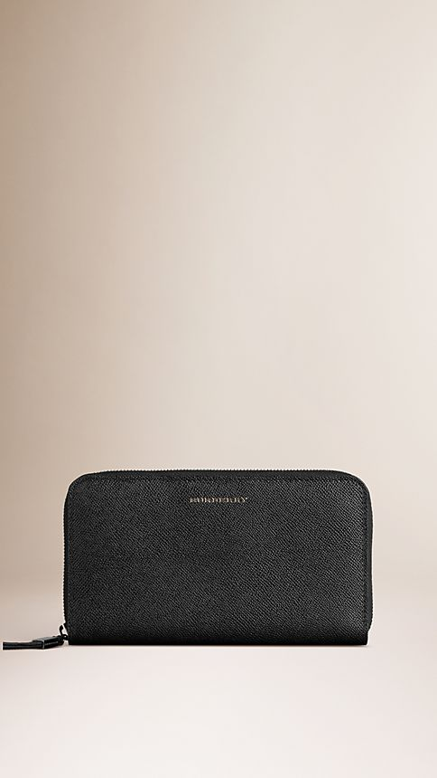 Black London Leather Ziparound Wallet - Image 1