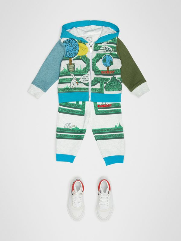 Hedge Maze Print Cotton Trackpants in Multicolour - Children | Burberry - cell image 2