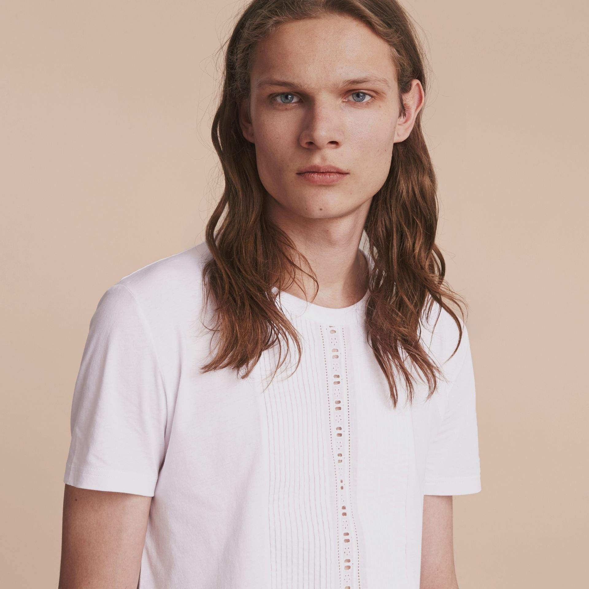 Pintuck and Lace Bib Detail Cotton T-shirt in White - Men | Burberry - gallery image 5