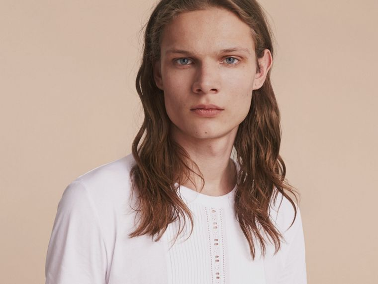 Pintuck and Lace Bib Detail Cotton T-shirt in White - Men | Burberry - cell image 4