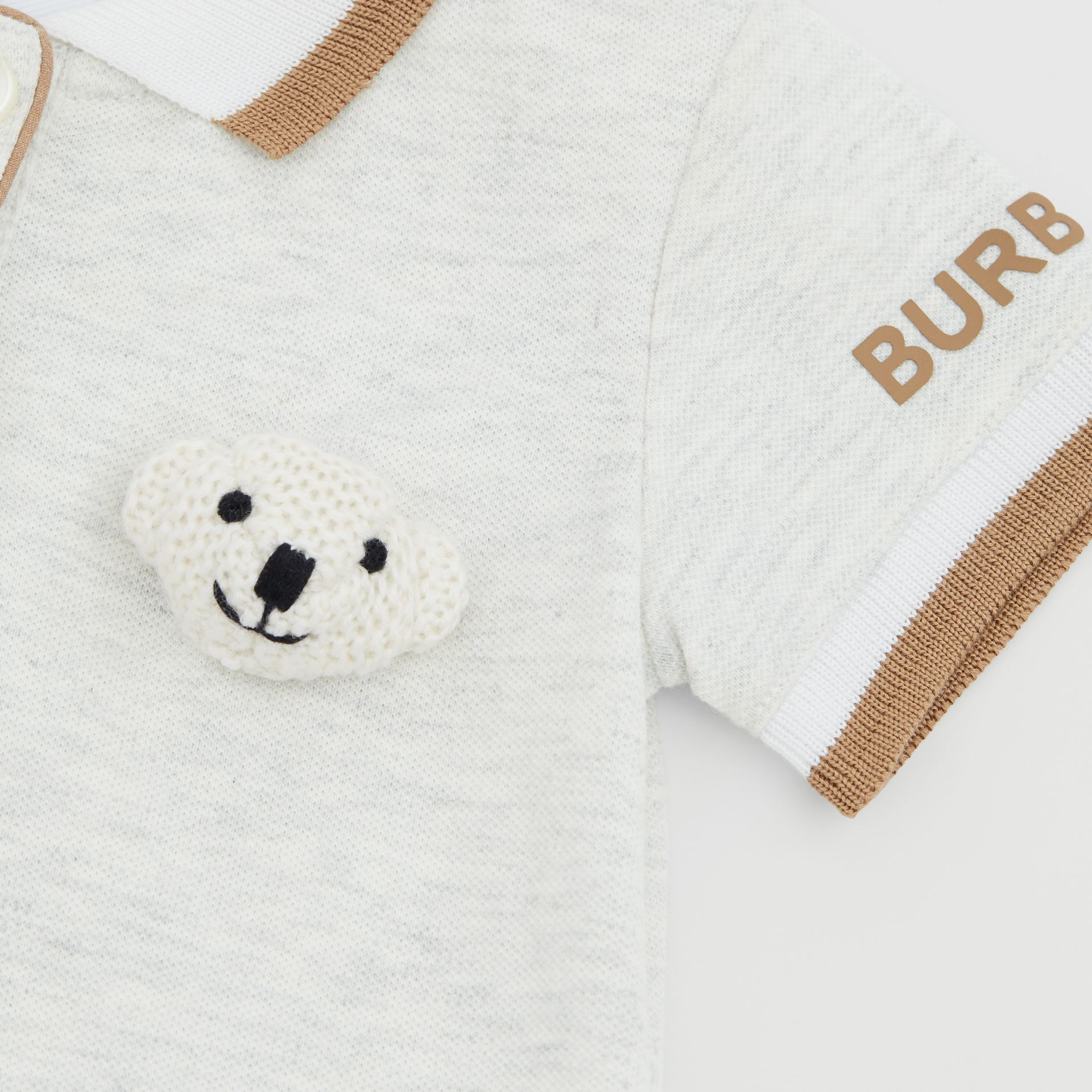 Thomas Bear Detail Stretch Cotton Jumpsuit in White Melange - Children | Burberry United Kingdom - gallery image 1