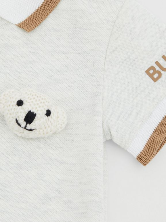 Thomas Bear Detail Stretch Cotton Jumpsuit in White Melange - Children | Burberry United Kingdom - cell image 1