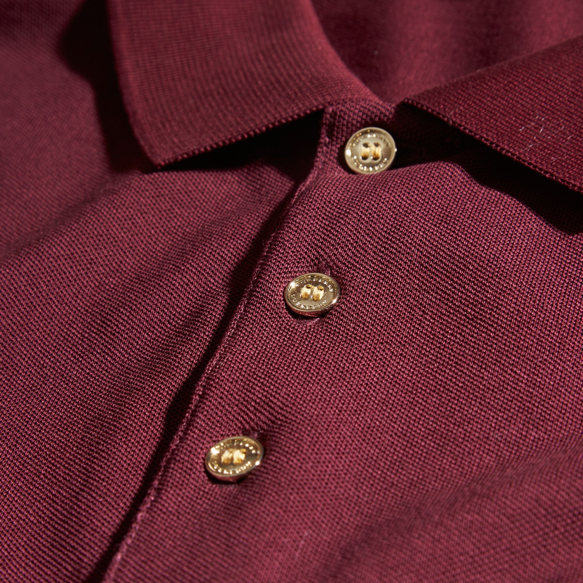 Burgundy red Fitted Mercerised Cotton-Piqué Polo Shirt Burgundy Red - gallery image 2