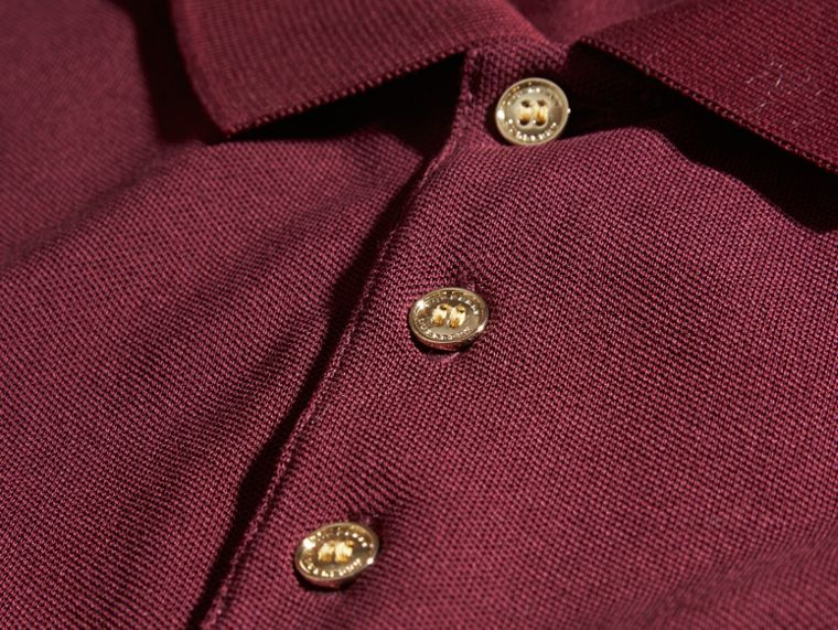 Fitted Mercerised Cotton-Piqué Polo Shirt Burgundy Red - cell image 1