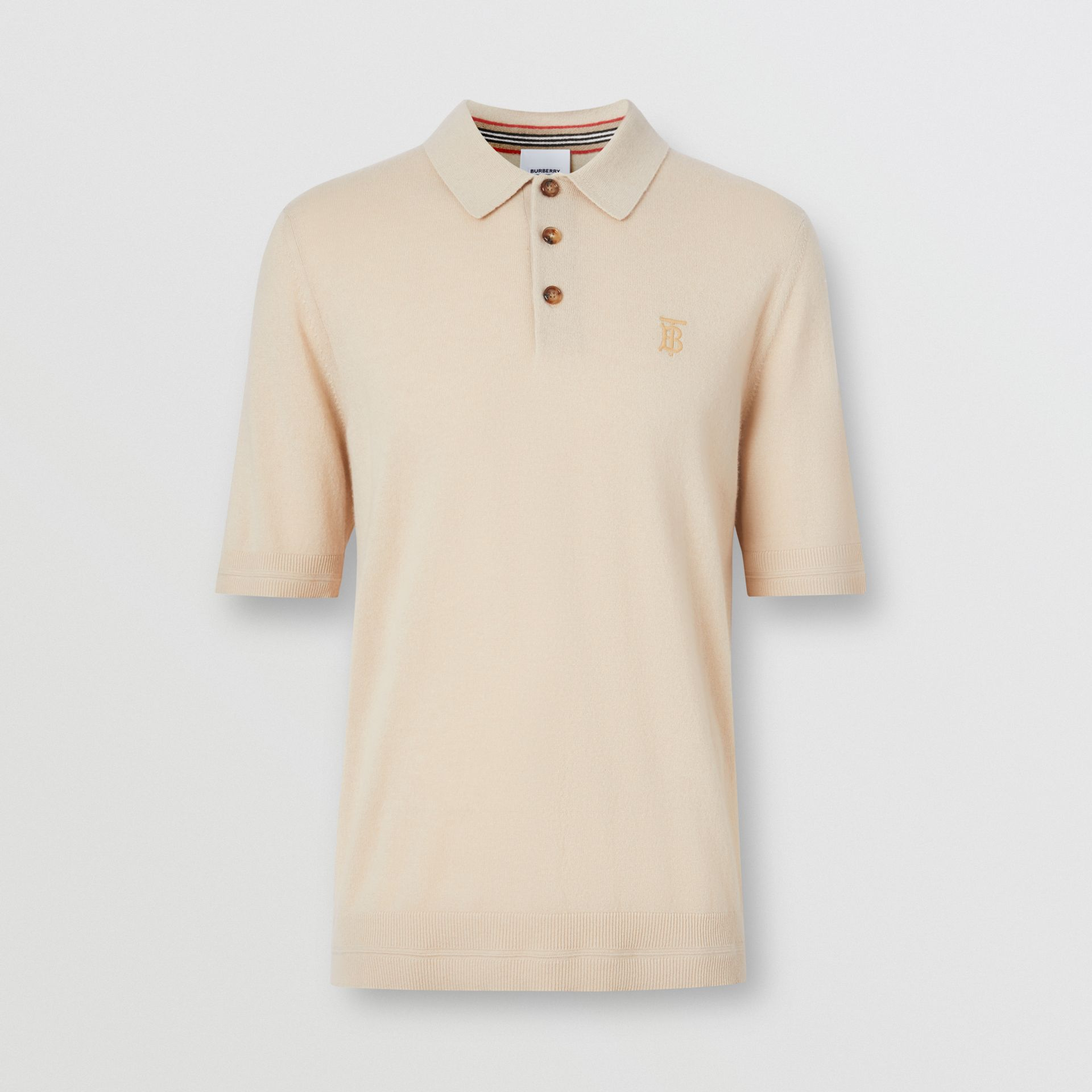 Monogram Motif Cashmere Polo Shirt in Soft Fawn - Men | Burberry United Kingdom - gallery image 3