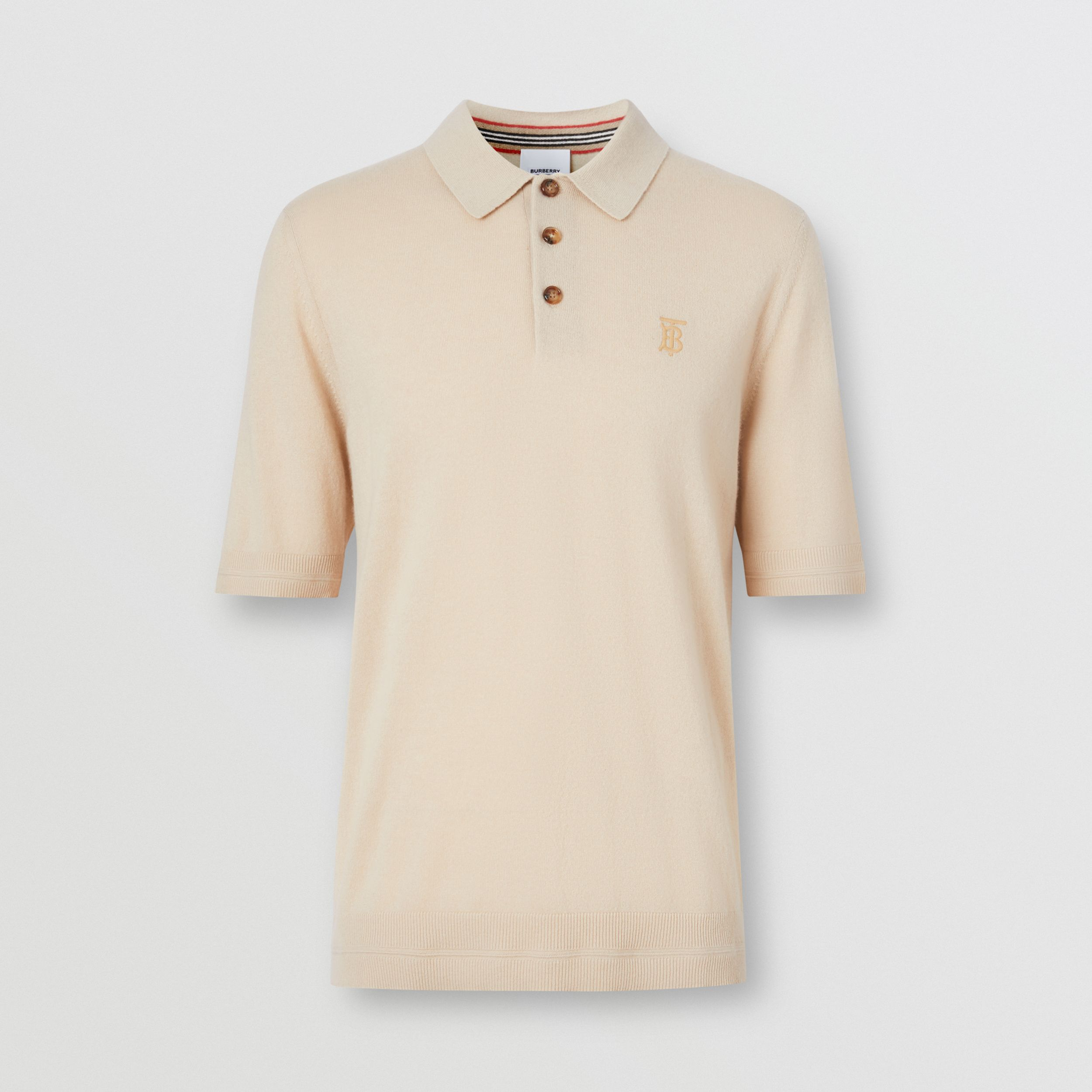 Monogram Motif Cashmere Polo Shirt in Soft Fawn | Burberry - 4